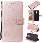 Imprint Owl Magnetic Wallet PU Leather Stand Cover for OnePlus 7 – Rose Gold