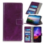 Crazy Horse Vintage Leather Wallet Case for Nokia 3.2 – Purple