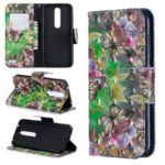 Pattern Printing Stand Wallet Leather Cell Phone Case for Nokia 4.2 – Butterfly and Flower