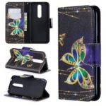 For Nokia 4.2 Pattern Printing Leather Stand Wallet Case – Roses and Colorized Butterfly