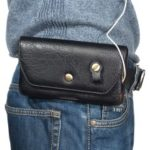 Portable Leather Waist Bag Support 6.4-Inch Smartphone – Black