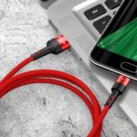 Micro USB Cable, US-SJ312 U26 1M Micro USB Data Sync & Charging Woven Cable for Huawei Samsung – Red
