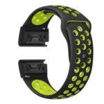 Two-color Silicone Wrist Strap for Garmin Fenix 5 – Black / Green