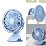 WT-F15 Portable Travel Fan Rechargeable USB Clip Clamp Mini Fan for Pram Cot Car Desk – Blue