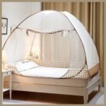 Foldable Mosquito Nets Pop Up Bend Tent with Double Doors for Home and Travel – Beige