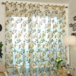 1x2m Peony Flower Curtain Blackout Window Tulle Drape Sheer (Without Curtain Bead) – Beige