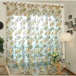 1x2m Peony Flower Curtain Blackout Window Tulle Drape Sheer for Bedroom Living Room  – Beige