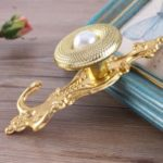 1 Pair Curtain Wall Hooks Metal Pearl Holdbcak Tieback – Gold