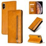 Auto-absorbed Zipper Wallet Leather Phone Casing for iPhone X/XS 5.8 inch – Yellow