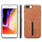 DENIOR Elastic Card Slot PU Leather Coated TPU Protective Back Case for iPhone 8 Plus / 7 Plus – Brown
