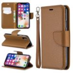 For iPhone X/XS 5.8 inch Litchi Texture Wallet Stand Leather Protective Phone Case with Strap – Brown