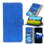 Crocodile Texture Leather Wallet Stand Phone Case Cover for iPhone (2019) 5.8-inch – Blue