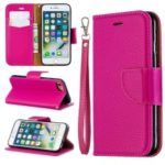 Litchi Texture Leather Wallet Stand Case for iPhone 7/8 – Rose