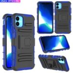 [50pcs]3-in-1 Armor Shock-proof Waist Belt Clip TPU PC Hybrid Shell for iPhone (2019) 6.1-inch – Black / Blue
