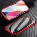 Magnetic Installation Metal Frame + Glass Whole-surround Phone Case for iPhone X/XS 5.8 inch – Red