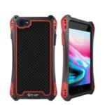 R-JUST ShocKproof Carbon Fiber Texture Silicone + Metal Whole-surround Protective Hybrid Case with Tempered Glass Screen Protector for iPhone 8/7 – Black / Red