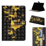 Pattern Printing Light Spot Decor Wallet Leather Tablet Cover for Samsung Galaxy Tab S5e SM-T720 – Gold Butterflies