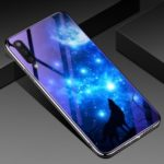 Electroplated TPU Soft Frame + Blue-ray Tempered Glass + PC Back Plate Hybrid Case for Samsung Galaxy A50 – Starry Sky and Wolf