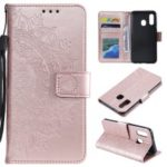 Imprint Mandala Flower Stand Wallet Leather Case for Samsung Galaxy A20e – Pink