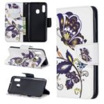 Pattern Printing Wallet Leather Stand Case for Samsung Galaxy A20e – Butterfly Pattern