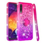 Rhinestone Decor Gradient Glitter Powder Quicksand TPU Case with Finger Ring Buckle for Samsung Galaxy A50 – Red/Purple