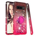Rhinestone Decor Gradient Glitter Powder Quicksand TPU Case with Finger Ring Buckle for Samsung Galaxy S10 – Brown/Red