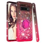 Rhinestone Decor Gradient Glitter Powder Quicksand TPU Case with Finger Ring Buckle for Samsung Galaxy S10 Plus – Brown/Red