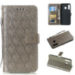 Imprint Leaf Leather Wallet Case for Samsung Galaxy M30/A40s – Grey