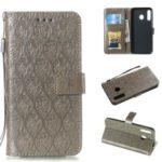 Imprint Leaf Leather Wallet Case for Samsung Galaxy M30/A40s – Grey