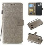 Imprint Leaf Leather Wallet Case for Samsung Galaxy M20 – Grey