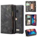 CASEME for Samsung Galaxy A20/30 2-in-1 Multi-slot Wallet Vintage Split Leather Case – Black