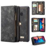 CASEME for Samsung Galaxy A20/30 2-in-1 Multi-slot Wallet Vintage Split Leather Case – Black