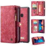 CASEME for Samsung Galaxy A20/30 2-in-1 Multi-slot Wallet Vintage Split Leather Case – Red
