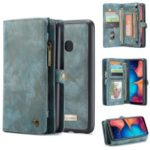 CASEME for Samsung Galaxy A20/30 2-in-1 Multi-slot Wallet Vintage Split Leather Case – Blue