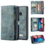 CASEME for Samsung Galaxy A20/30 2-in-1 Multi-slot Wallet Vintage Split Leather Case – Blue
