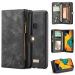 CASEME for Samsung Galaxy A40 2-in-1 Multi-slot Wallet Vintage Split Leather Phone Cover – Black