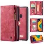 CASEME for Samsung Galaxy A40 2-in-1 Multi-slot Wallet Vintage Split Leather Phone Cover – Red