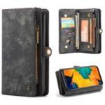 CASEME for Samsung Galaxy A70 2-in-1 TPU Multi-slot Wallet Vintage Split Leather Case – Black