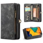 CASEME 2-in-1 Multi-slot Wallet Vintage Split Leather Phone Case for Samsung Galaxy A50 – Black