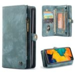 CASEME 2-in-1 Multi-slot Wallet Vintage Split Leather Phone Case for Samsung Galaxy A50 – Blue