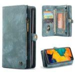 CASEME 2-in-1 Multi-slot Wallet Vintage Split Leather Phone Case for Samsung Galaxy A50 – Blue