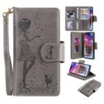 Imprinted Beauty Cat 9 Card Slots Leather Stand Case for Samsung Galaxy A70 – Grey