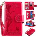 Imprinted Beauty Cat 9 Card Slots Leather Stand Case for Samsung Galaxy A20/A30 – Red