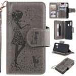 Imprinted Beauty Cat 9 Card Slots Leather Stand Case for Samsung Galaxy A40 – Grey