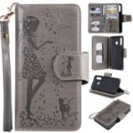 Imprinted Beauty Cat 9 Card Slots Leather Stand Case for Samsung Galaxy M30/A40s – Grey