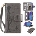Imprinted Beauty Cat 9 Card Slots Leather Stand Case for Samsung Galaxy M10/A10 – Grey