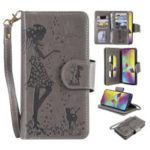 Imprinted Beauty Cat 9 Card Slots Leather Stand Case for Samsung Galaxy M20 – Grey