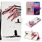 Pattern Printing Leather Wallet Stand Case for Samsung Galaxy A50 – Tree with Flowers