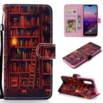 Pattern Printing Leather Wallet Stand Case for Samsung Galaxy A50 – Bookshelf