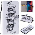 Pattern Printing Leather Wallet Stand Case for Samsung Galaxy A20 / Galaxy A30 – Cool Skull